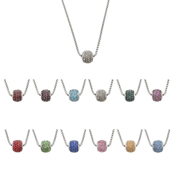 Eternally Haute Stainless Steel Crystal Brithstone Pendant Necklace
