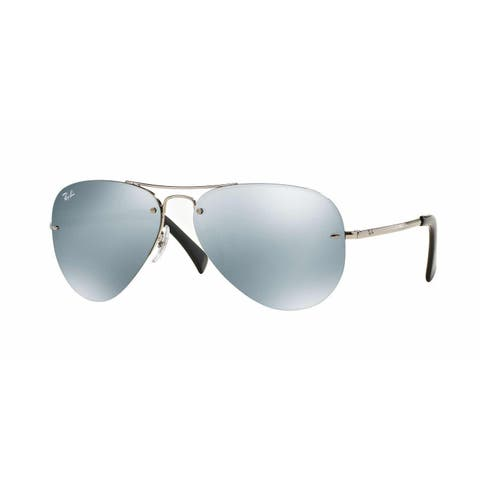 Ray-Ban RB3449 003/30 Silver Frame Silver Mirror 59mm Lens Sunglasses - green