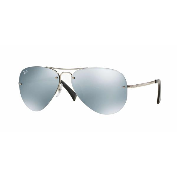 4260cf914e Ray-Ban RB3449 003 30 Silver Frame Silver Mirror 59mm Lens Sunglasses -  green. Click to Zoom
