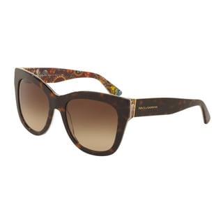 D&G Women's DG4270F 303713 Havana Plastic Square Sunglasses