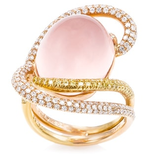 Pre-Owned Estate 18K Pink/Yellow Gold Diamond Pink Quartz Ring