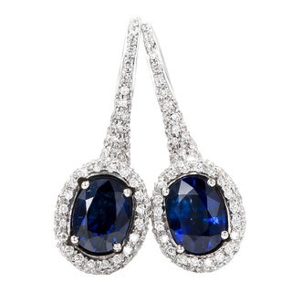 Pre-Owned Chantecler 18k White Gold 1 4/5ct TDW Diamond Sapphire Earrings (F-G, VS1-VS2)
