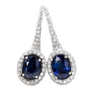 Pre-Owned Chantecler 18k White Gold 1 4/5ct TDW Diamond Sapphire Earrings (F-G, VS1-VS2)