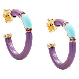 Pre-Owned Chantecler 18k Gold Contemporary Turquoise and Purple Sapphire Earrings