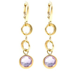 Pre-Owned Lalla & Rossana 18k Yellow Gold Purple Amethyst Earrings