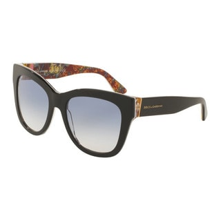 D&G Women's DG4270F 303319 Black Plastic Square Sunglasses