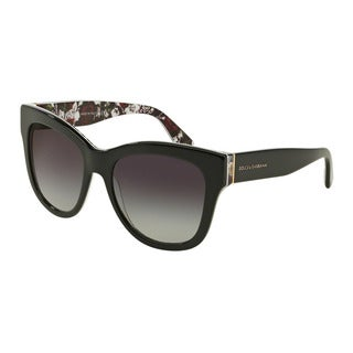 D&G Women's DG4270F 30218G Black Plastic Square Sunglasses