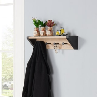 Danya B™ Weathered Oak and Black Hanging Rack with Top Shelf