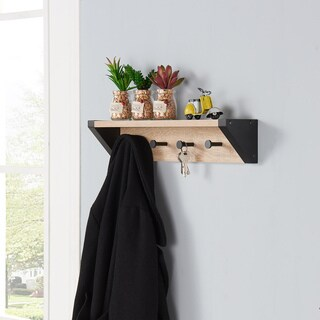 Danya B. Weathered Oak and Black Hanging Rack with Top Shelf