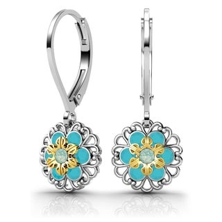 Lucia Costin Silver, Mint Blue, Turquoise Swarovski Element Crystal Earrings