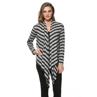 High Secret Women's Striped Long Sleeve Open Front Cardigan