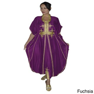 Women's Handmade Malakia Caftan with Gold Embroidery (Morocco) (More options available)