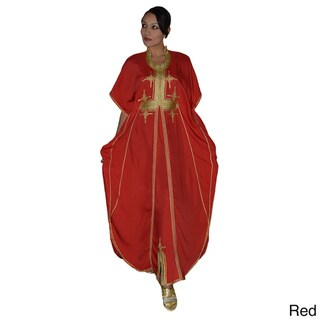 Women's Handmade Malakia Caftan with Gold Embroidery (Morocco)