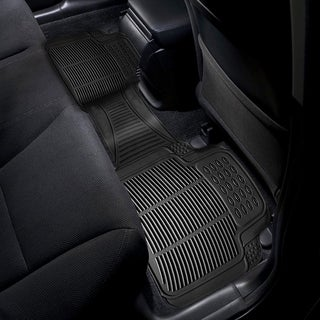 Zone Tech Black Rubber 18-inch x 2-inch x 12-inch Universal Car Vehicle Floor Mat