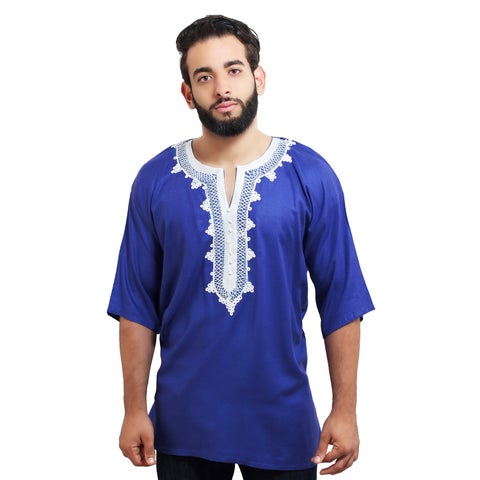 Handmade Moroccan Breathable Fiber Cotton Embroidery Men's Ethnic Caftan Tunic (Morocco)