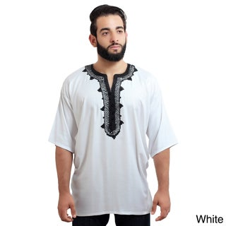 Moroccan Breathable Fiber Cotton Handmade Embroidery Men's Ethnic Caftan Tunic (4 options available)
