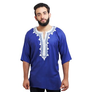 Moroccan Breathable Fiber Cotton Handmade Embroidery Men's Ethnic Caftan Tunic