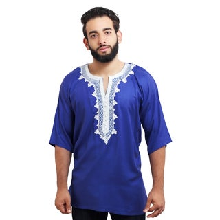 Moroccan Breathable Fiber Cotton Handmade Embroidery Men's Ethnic Caftan Tunic