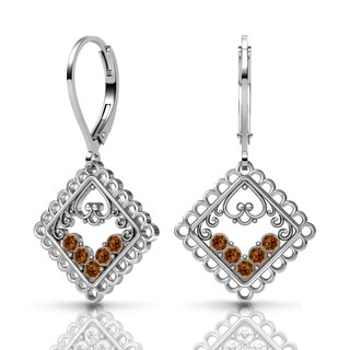 Lucia Costin Silver Brown Swarovski Crystal Earrings