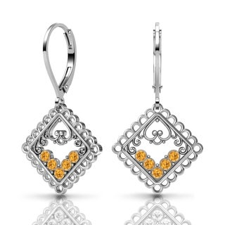 Lucia Costin Silver Yellow Swarovski Crystal Earrings