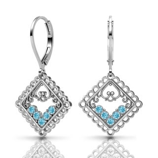 Lucia Costin Silver Aquamarine Swarovski Crystal Earrings