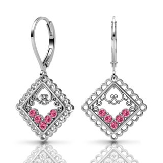 Lucia Costin Silver Pink Swarovski Crystal Earrings