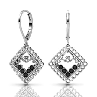 Lucia Costin Silver Black Swarovski Crystal Earrings