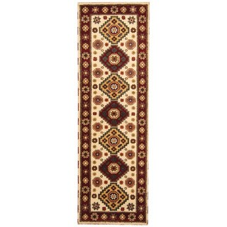 Herat Oriental Indo Hand-knotted Tribal Kazak Ivory/ Red Wool Runner (2'9 x 8'4)