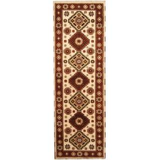 Herat Oriental Indo Hand-knotted Tribal Kazak Ivory/ Rust Wool Runner (2'9 x 8'3)