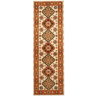 Herat Oriental Indo Hand-knotted Tribal Kazak Ivory/ Orange Wool Runner (2'9 x 8'3)