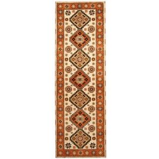 Herat Oriental Indo Hand-knotted Tribal Kazak Ivory/ Orange Wool Runner (2'9 x 8'3)