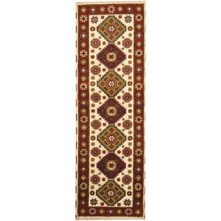 Herat Oriental Indo Hand-knotted Tribal Kazak Ivory/ Rust Wool Runner (2'9 x 8'4)