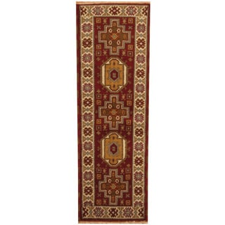Herat Oriental Indo Hand-knotted Tribal Kazak Red/ Ivory Wool Runner (2'3 x 6'6)