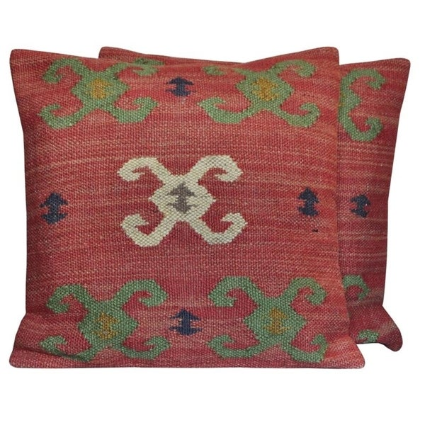 "Handmade Wool & Jute Kilim Pillows, Set of 2 (India) - 20"" L x 20"" W. Opens flyout."
