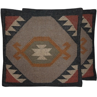 "Link to Handmade Wool and Jute Kilim Pillow, Set of 2 (India) - 20"" L x 20"" W Similar Items in Decorative Accessories"