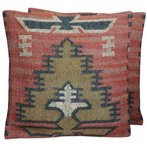 Handmade Wool and Jute Kilim Pillow, Set of 2
