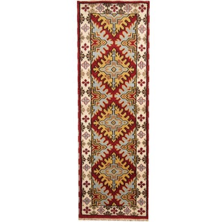 Herat Oriental Indo Hand-knotted Tribal Kazak Red/ Ivory Wool Runner (2'9 x 8'2)