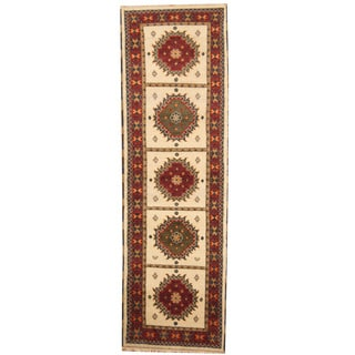 Herat Oriental Indo Hand-knotted Tribal Kazak Ivory/ Red Wool Runner (2'10 x 8'11)