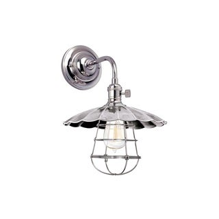 Hudson Valley Heirloom MS3 Small Polished Nickel Wall Sconce with Wire Guard