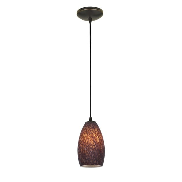 Access Lighting Champagne Bronze Cord Pendant with Brown Stone Shade