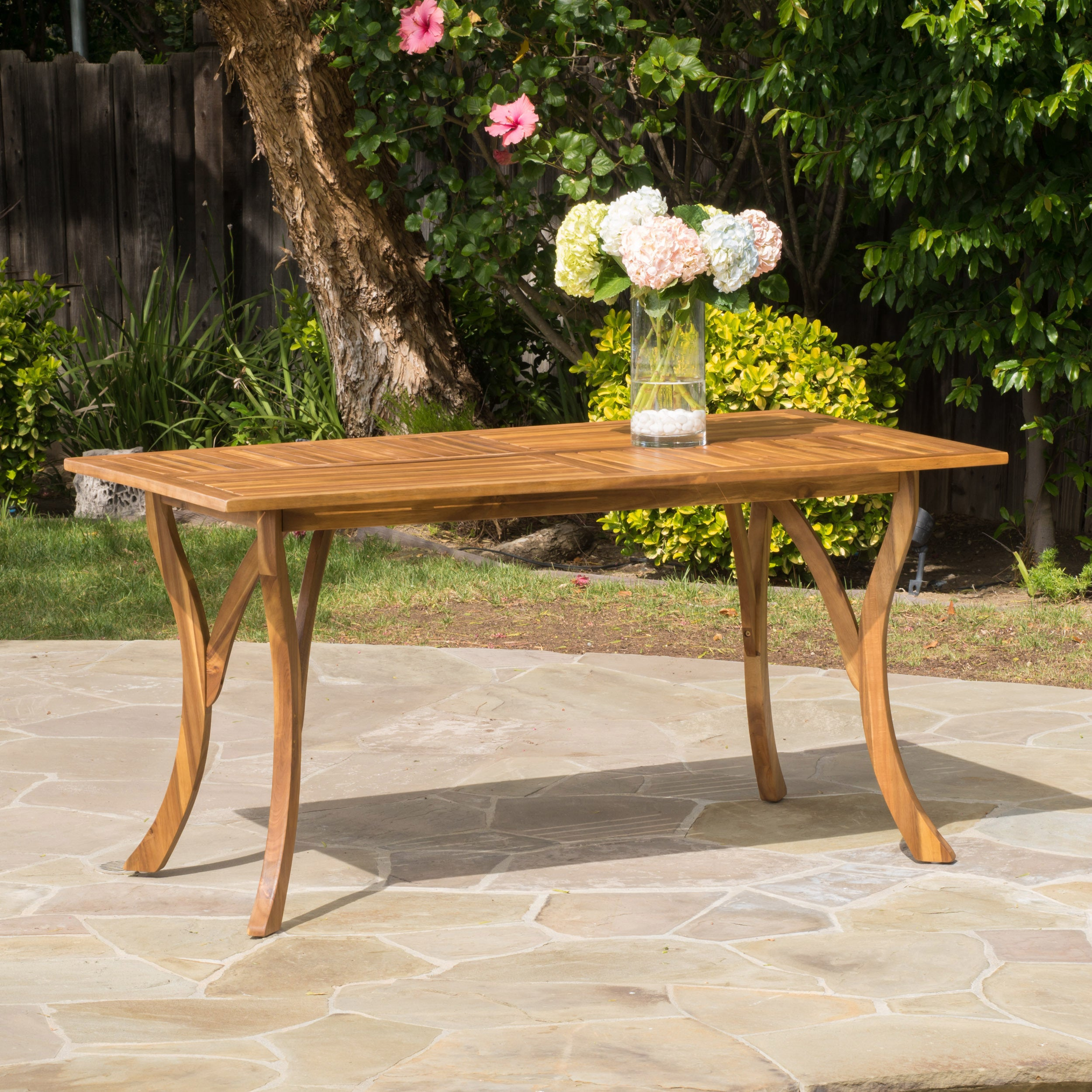 Hermosa Outdoor Acacia Wood Rectangle Dining Table Only By Christopher Knight Home