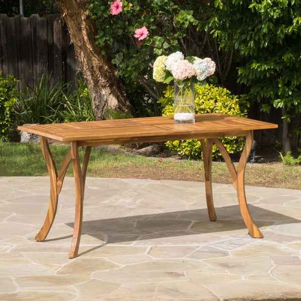 Shop Hermosa Outdoor Acacia Wood Rectangle Dining Table ONLY By - Outdoor dining table only