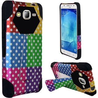 Insten Colorful Polka Dots Hard PC/ Silicone Dual Layer Hybrid Case Cover with Stand For Samsung Galaxy J7 (2016)