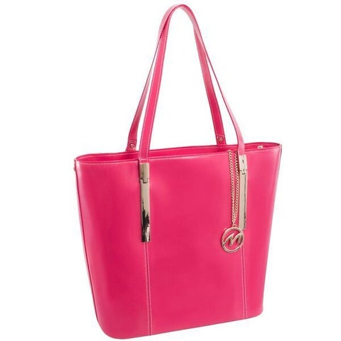 McKlein USA Fuchsia Christina Top Grain Leather Tablet Tote Bag