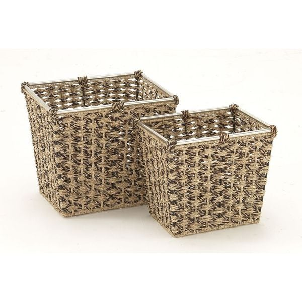 Mesmerizing Sea Grass Metal Basket (Set Of 2)