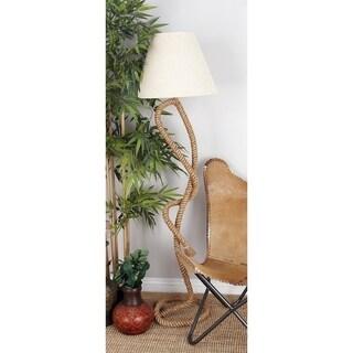 Natural-finish Metal/Rope Floor Lamp