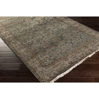 Hand-Knotted Bingley Border Viscose Area Rug - 6' x 9'