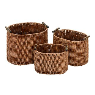 15-inch/13-inch/11-inch Rattan Baskets (Set of 3)