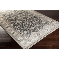 Hand-Knotted Bingham Border Viscose Area Rug - 5' x 8'