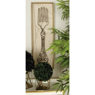 Studio 350 Wood Metal Wall Decor Set of 2, 12 inches wide, 36 inches high